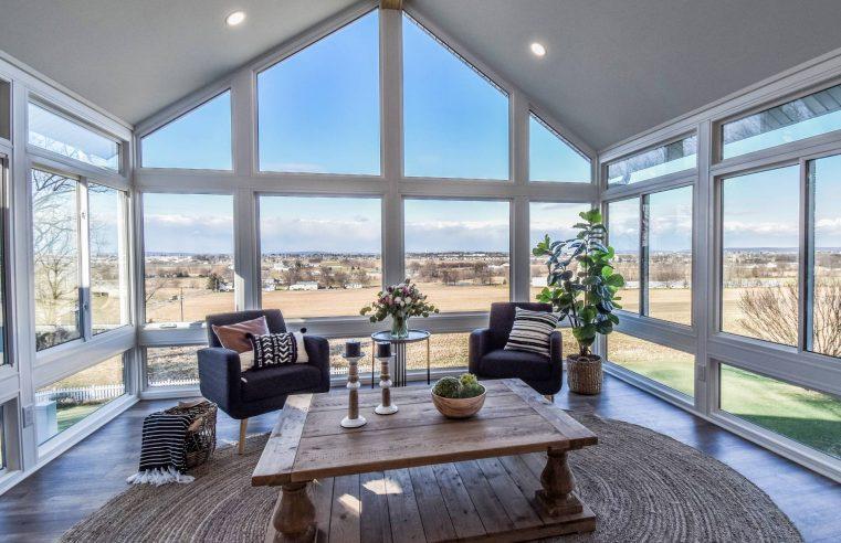 Sunrooms or glass verandas with sliding doors